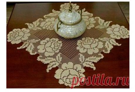 Салфетка с розами филейным вязанием