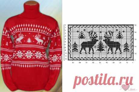 Уникальная подборка схем узоров свитеров с оленями.   Петелька   Яндекс Дзен