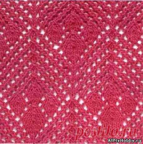 Схема для вязание спицами №7. Узоры с листочками. - Вязание спицами. Узоры