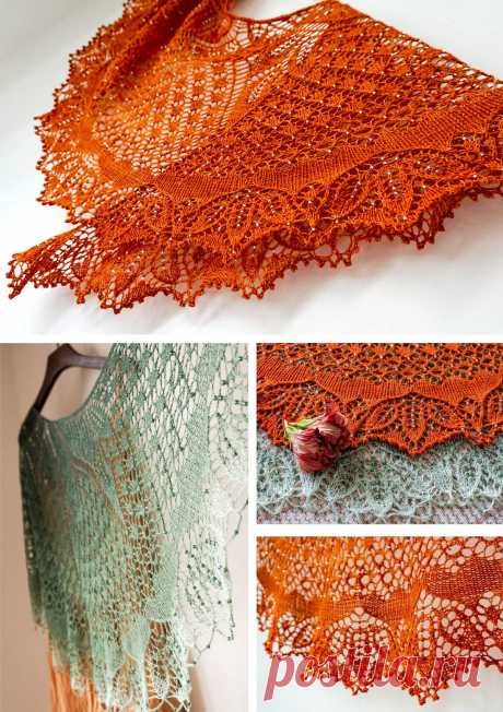 Танцующие бабочки Ажурные шали Dancing Butterflies (Танцующие бабочки) от дизайнера CarfieldMa со схемами и описанием.