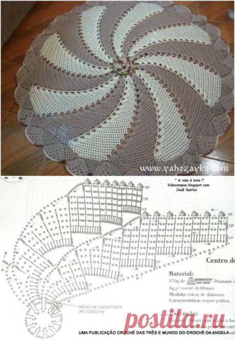 Спиральный коврик крючком схема. Красивый коврик крючком своими руками. | Я Хозяйка