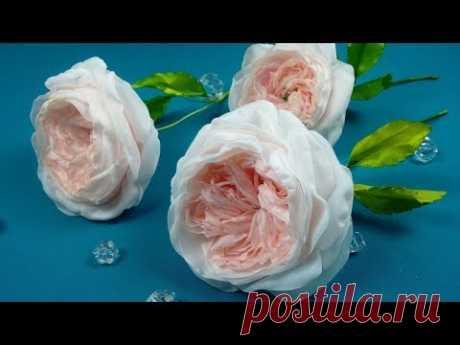 English rose from fabric/Inglés rosa de tela/Английская роза из ткани