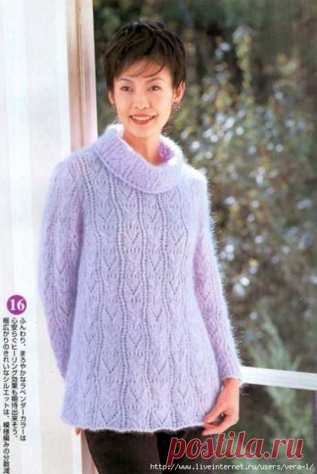 Модели вязания со схемами и описаниями: Нежный пуловер из кид-мохера
