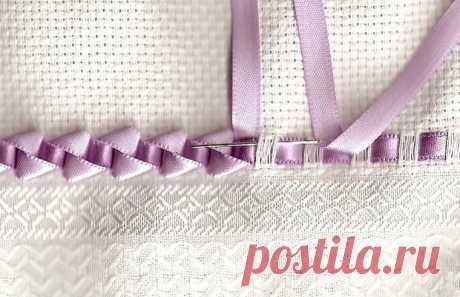Потрясающе красивое плетение атласными лентами. Вышивка лентами на полотенцах, салфетках, скатертях - Домоводство - медиаплатформа МирТесен