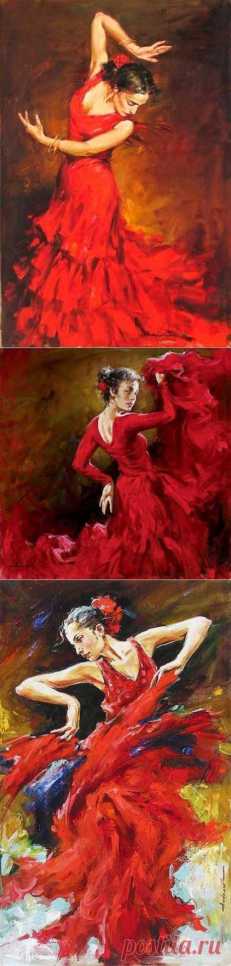 Жгучий танец, полный огня, в картинах художника Андрея Атрошенко.