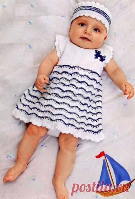МК по вязанию спицами белой повязки для новорожденной девочки с подробным описанием и схемой