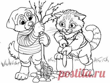 Трудолюбивые котик и собачка