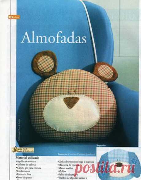 Мишка. Подушка.  #подушки@handmade_blog