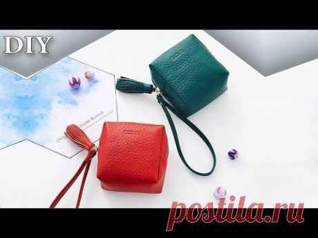 DIY ADORABLE POUCH BAG Zipper PU Lather Purse HandBag