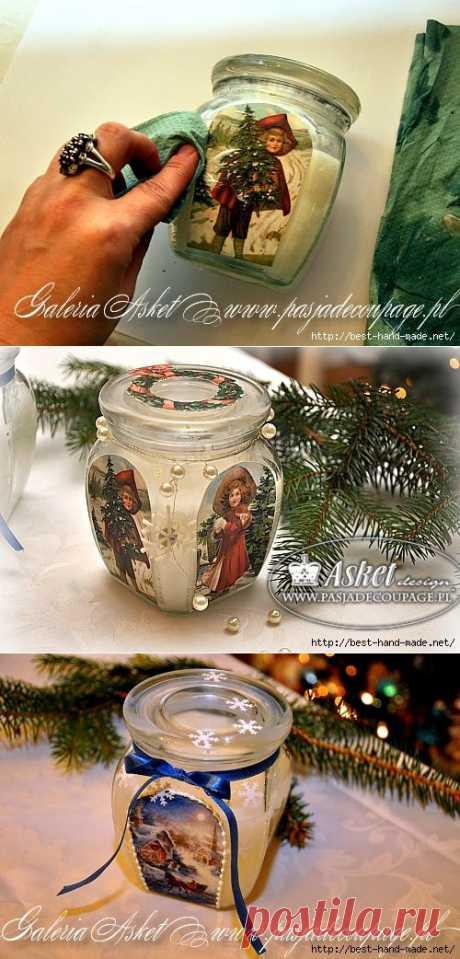 Рождественский декор свечной баночки от Asket. Мастер-класс.