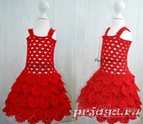 Красное платье девочке крючком
