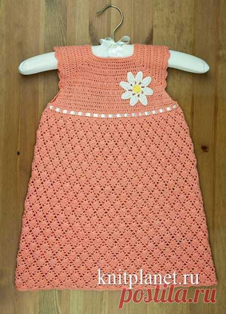 Планета Вязания | Детское платье крючком. Мастер-класс и видео по вязанию
