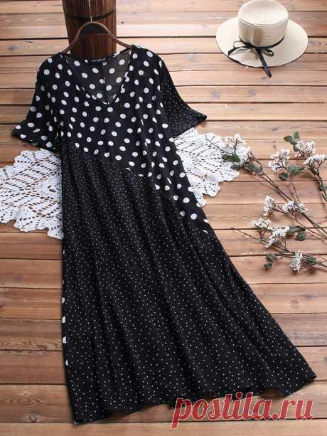 Hot saleGracila Пэчворк с коротким рукавом в горошек Винтаж Платье Cheap - NewChic