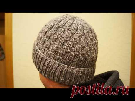 Двойная мужская шапка с отворотом. Тёплая шапка спицами. Расчёт. Men's knitted hat. Master Class