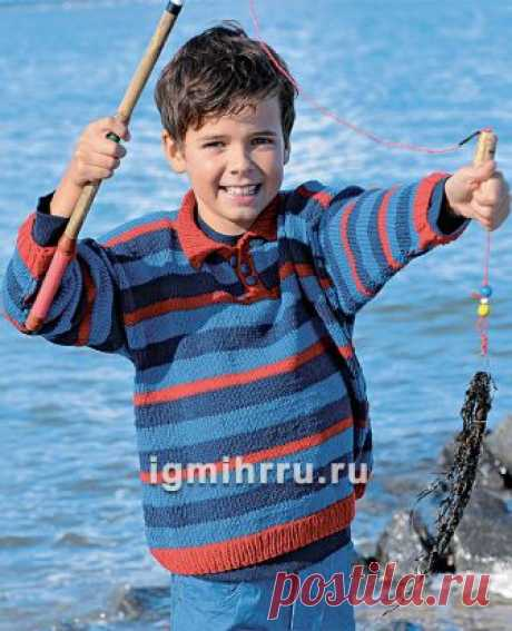 Для мальчика 2-8 лет. Пуловер в полоску и с воротником-поло. Вязание спицами