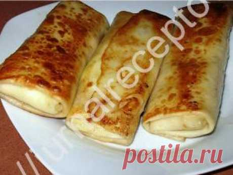 Pancakes on mineral water with cottage cheese