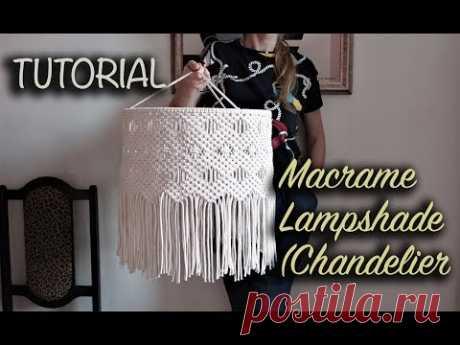 Tutorial Macrame Lampshade (Chandelier) | DIY Home decor - YouTube Абажур макраме. хлопковый шнур 4мм, кольцо d-40см, 136 веревок по 2 метра . Длина готового изделия 43см.