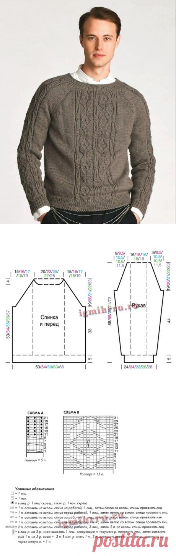Симпатичный мужской джемпер – описание (Вязание спицами) – Журнал Вдохновение Рукодельницы