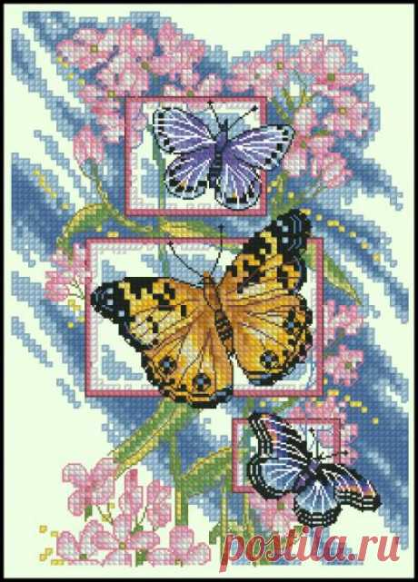 Цветы и бабочки. Яркая нежность. Вышивка.