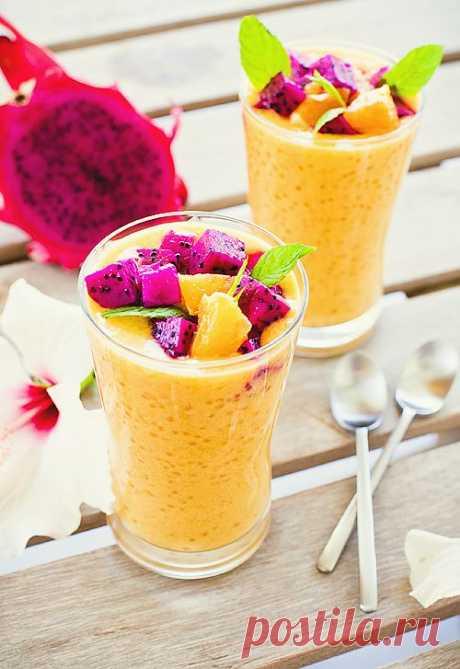 Манговый суп с тапиокой из Тель-Авива с любовью! Тапиока — крахмалистая крупа, получаемая из корней маниока (род растений семейства молочайные).