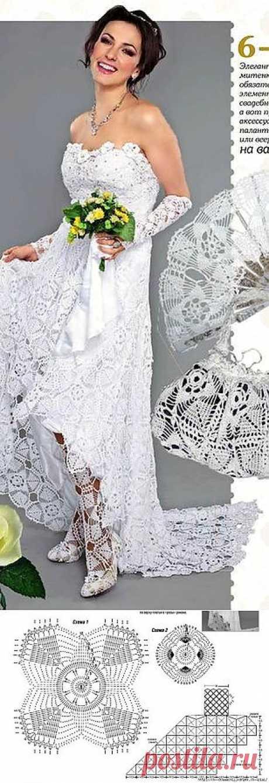 Свадебное платье из мотивов.