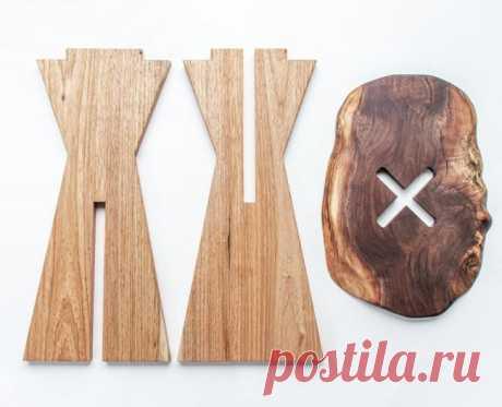 Разборный табурет с сидением из древесной плиты
