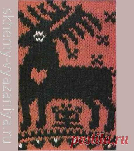 Большой северный олень на красном фоне - схема вязания узора спицами