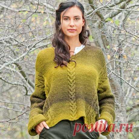 Пуловер с диагональными «косами» - схема вязания спицами. Вяжем Пуловеры на Verena.ru