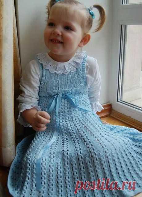 Платья для девочек спицами   Волшебные спицы   Яндекс Дзен