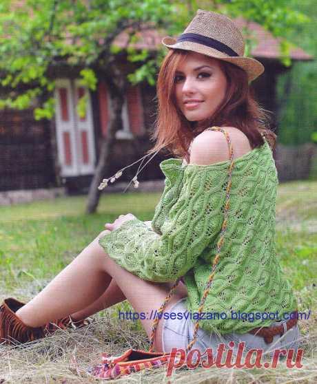 ВСЕ СВЯЗАНО. ROSOMAHA.: Зеленый пуловер за выходные: я еду на отдых!
