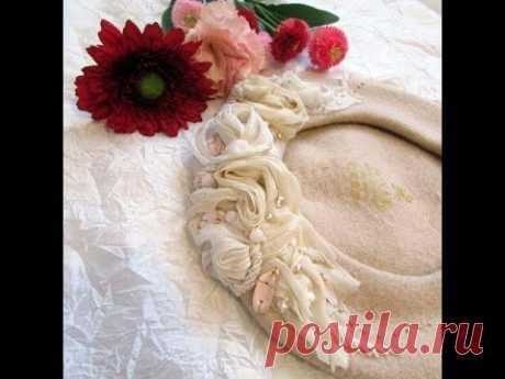 Мастер класс по вышивке тканями на берете. Как сделать вышивку на шапке.  embroidery on the cap - YouTube