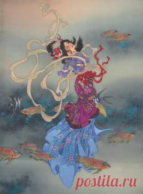 Потрясающая китайская акварель на шелке