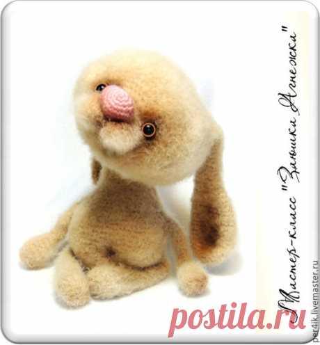 """Купить Мастер-класс """"Заюшка Агнежка"""" (описание вязания) - бежевый, игрушка, игрушки, вязаная игрушка"""