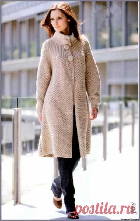 Красивое вязаное пальто - пора украсить себя к весне