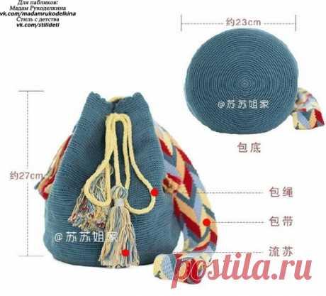 Вяжем крючком рюкзак-торбу. Схема вязания  #вязание_крючком  #схема_вязания