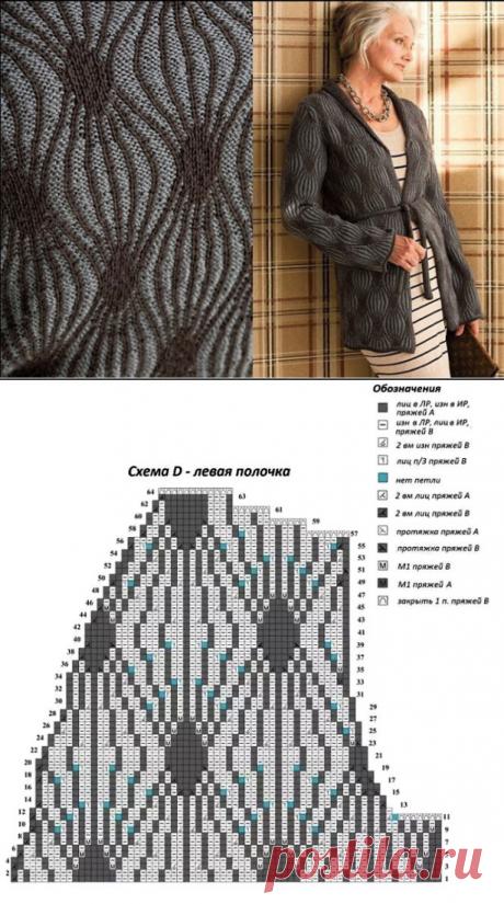 Кардиган интересным узором в технике бриошь с описанием и схемами