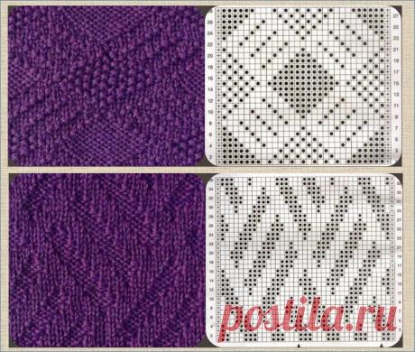 Простые рельефные узоры, или теневое вязание - 50 образцов со схемами для вязания спицами | МНЕ ИНТЕРЕСНО | Яндекс Дзен