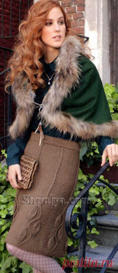 Юбка с узором из листьев, вязаная спицами - SHPULYA.com