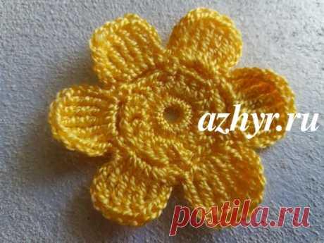 Маленький цветок крючком - схема и описание | АЖУР - схемы узоров