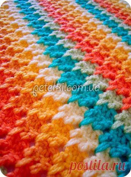 Интересный многоцветный узор - Афганское вязание крючком. Схема, видеоурок