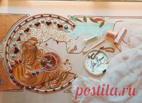 Люневильская вышивка Julie Romero по картине Alphonse Mucha | Журнал Ярмарки Мастеров