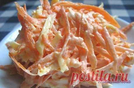 Морковный салат с яйцом- можно даже на ночь! На 100 грамм всего 88.26 ккал!