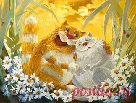 Антон Горцевич. Удивительные картины. Про котов и не только. Улыбнемся работам Антона Горцевича. Они теплые, добрые, позитивные, похожи на иллюстрации к добрым детским книгам. Главные герои его картин кошки, но разве мы не увидим в них себя? Обнимашки с котиками наверняка никого не оставят равнодушными!