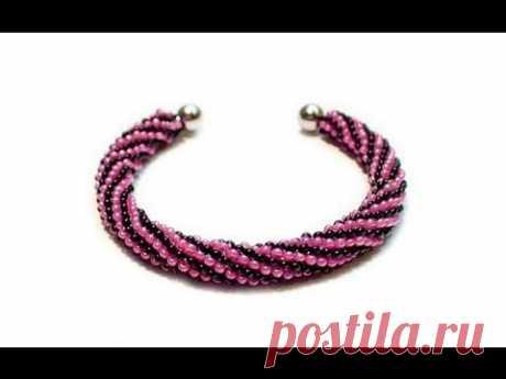 Tutorial: beads style №1 for pandora bracelet / Жгут из бисера для пандоры - YouTube