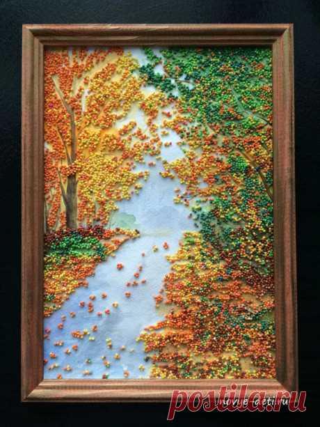 Картина из крупы Осенний пейзаж. Мастер-класс с подробным описанием и фото. Как покрасить крупу и создать пейзаж