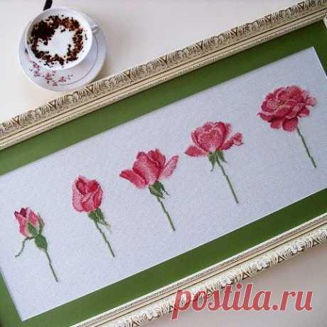 Утонченная вышивка миниатюрных роз