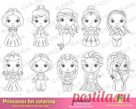 Принцессы для раскраски Принцессы черно-белые клипарты   Etsy