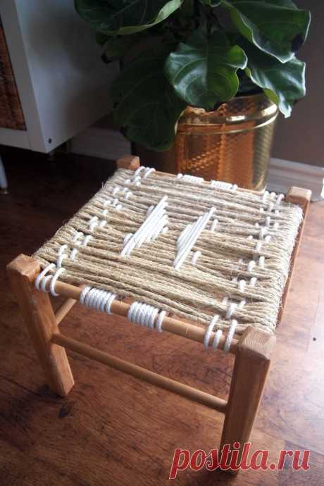 Табурет с плетеным сиденьем своими руками   Фото