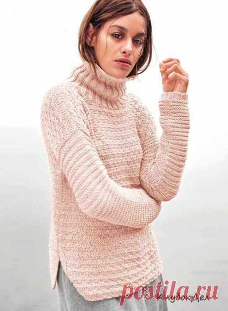 Пуловер с боковыми разрезами. Выкройка и описание вязания пуловера спицами