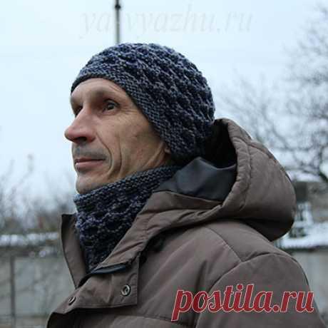 Warm men's cap and shirtfront spokes | Knitting mood...